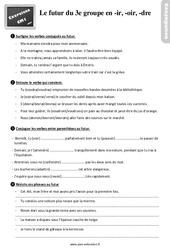 Exercices, révisions sur le futur des verbes en – ir, – oir et – dre au  avec les corrections : 4eme Primaire
