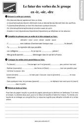 Exercices, révisions sur le futur des verbes du  groupe en – ir, – oir et – dre au  avec les corrections : 5eme Primaire