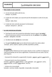 Formation des mots – Cours – Préfixes et suffixes : 2eme Secondaire