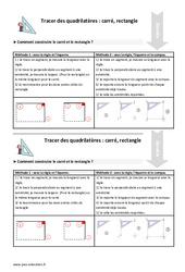 Tracer des quadrilatères – Fiches carré et rectangle – Cours, Leçon : 4eme Primaire