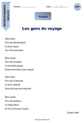 Les gens du voyage – Poème – Lecture : 4eme Primaire