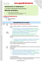 Quadrilatères – Fiche de préparation : 4eme Primaire