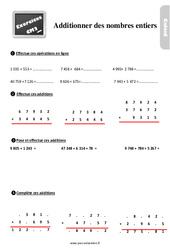 Exercices, révisions sur additionner les nombres entiers au  avec les corrections : 5eme Primaire