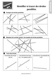 Exercices, révisions sur identifier et tracer des droites parallèles au  avec les corrections : 5eme Primaire