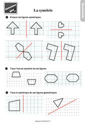 Exercices, révisions sur compléter des figures symétriques au  avec les corrections : 5eme Primaire