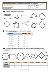 Évaluation, bilan sur décrire et reconnaitre des polygones au  avec la correction : 5eme Primaire