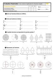 Évaluation, bilan sur lire, écrire et représenter les fractions simples au  avec la correction : 5eme Primaire