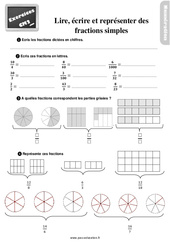 Exercices, révisions sur lire, écrire et représenter des fractions simples au  avec les corrections : 5eme Primaire