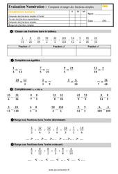 Évaluation, bilan sur comparer et ranger des fractions simples au  avec la correction : 5eme Primaire