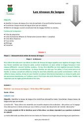 Les niveaux de langue – Fiche de préparation : 5eme Primaire