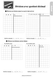 Exercices, révisions sur la division avec quotient décimal au  avec les corrections : 5eme Primaire
