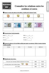 Exercices, révisions sur connaître les relations entre les centimes et euros au  avec les corrections : 3eme Primaire