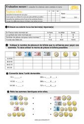 Évaluation, bilan sur connaître les relations entre les centimes et euros au  avec les corrections : 3eme Primaire