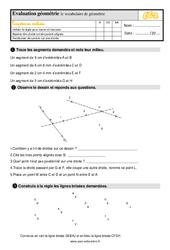 Évaluation, bilan sur le vocabulaire de géométrie au  avec la correction : 3eme Primaire