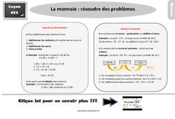 Leçon, trace écrite sur la monnaie – Fiches résoudre des problèmes au  : 3eme Primaire