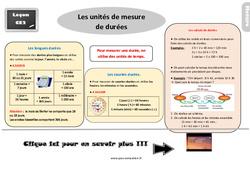 Leçon, trace écrite sur les unités de mesure de durées au  : 3eme Primaire