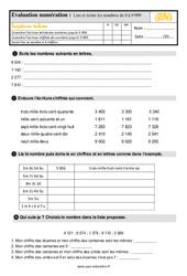 Évaluation, bilan sur lire et écrire les nombres de 0 à 9 999 au  avec les corrections : 3eme Primaire