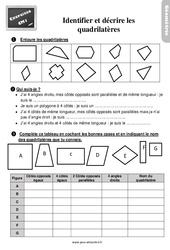 Exercices, révisions sur les quadrilatères –  avec les corrigés : 4eme Primaire
