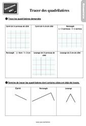 Exercices, révisions sur tracer des quadrilatères –  avec les corrigés : 4eme Primaire