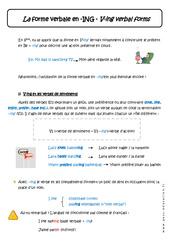 La forme verbale en – ING – Cours – Verbe +ing verbal forms : 1ere Secondaire