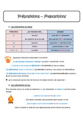 Prépositions – Cours – In, On, At, From…to – Anglais : 1ere Secondaire