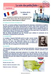La statue de la Liberté – Fiches valeurs de la république française – Lecture pluridisciplinaire : 4eme, 5eme Primaire