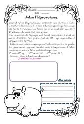 Adam l'hippopotame – 1 histoire 1 problème : 4eme Primaire