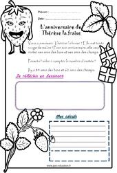 L'anniversaire de Thérèse la fraise – 1 histoire 1 problème : 1ere Primaire