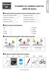 Exercices, révisions sur connaître les relations entre les unités de masse au  avec les corrections : 3eme Primaire