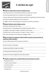 Exercices, révisions sur l'attribut du sujet au  avec les corrections : 5eme Primaire