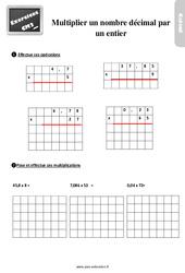 Exercices, révisions sur multiplier un nombre décimal par un entier au  avec les corrections : 5eme Primaire