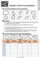 Exercices, révisions sur identifier et décrire des quadrilatères au  avec les corrections : 5eme Primaire