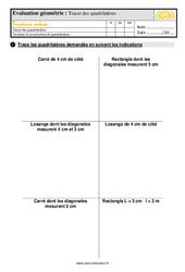 Évaluation, bilan sur tracer des quadrilatères au  avec la correction : 5eme Primaire