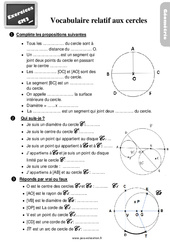 Exercices, révisions sur le vocabulaire relatif aux cercles au  avec les corrections : 5eme Primaire