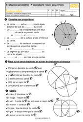 Évaluation, bilan sur le vocabulaire relatif aux cercles au  avec la correction : 5eme Primaire
