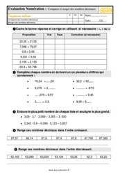 Évaluation, bilan sur comparer et ranger des nombres décimaux –  avec les corrigés : 5eme Primaire
