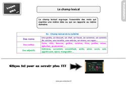 Leçon, trace écrite sur le champ lexical au  : 5eme Primaire