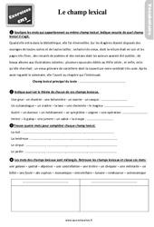 Exercices, révisions sur le champ lexical au  avec les corrections : 5eme Primaire