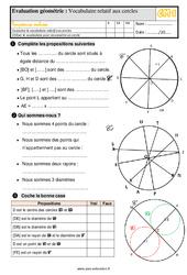 Évaluation, bilan sur le vocabulaire relatif aux cercles au  avec la correction : 4eme Primaire