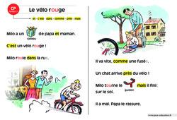 Le vélo rouge – Lecture compréhension – Histoire illustrée – Niveau 1 : 1ere Primaire
