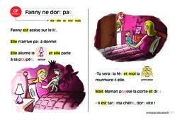 Fanny ne dort pas – Lecture compréhension – Histoire illustrée – Niveau 1 : 1ere Primaire