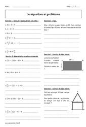 Equations et problèmes – Exercices corrigés : 3eme Secondaire