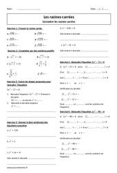 Racines carrées – Exercices corrigés à imprimer : 3eme Secondaire