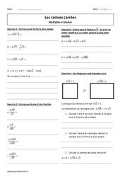Racines carrées – Diviser et  multiplier – Révisions brevet : 3eme Secondaire