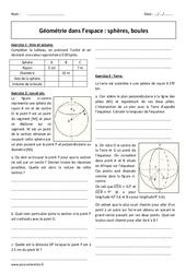 Géométrie dans l'espace – Révisions brevet sur les sphères et les boules : 3eme Secondaire