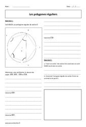 Polygones réguliers – Exercices corrigés : 3eme Secondaire