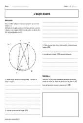 Angle inscrit – Exercices corrigés : 3eme Secondaire