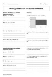Réduire et développer une expression littérale – Exercices à imprimer : 2eme Secondaire