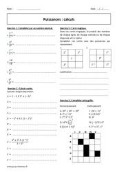 Calculs – Exercices à imprimer sur les puissances : 2eme Secondaire