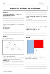 Résoudre des problèmes avec une équation – Exercices avec correction : 2eme Secondaire